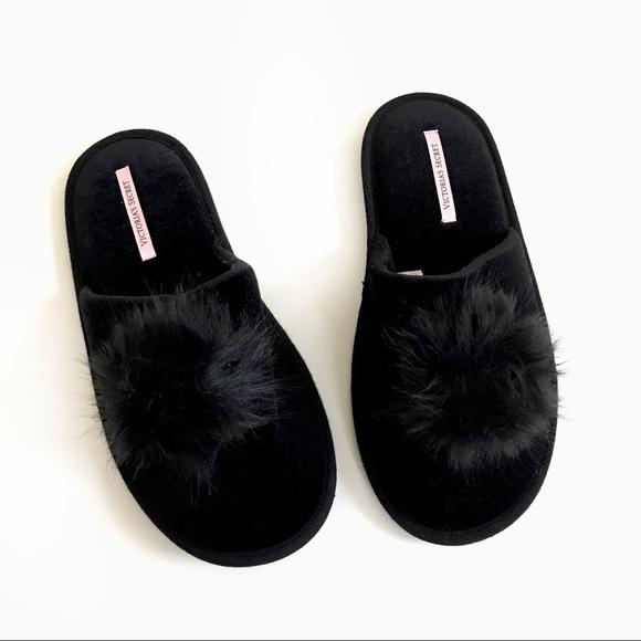 Victorias Secret Black Pompom Velvet